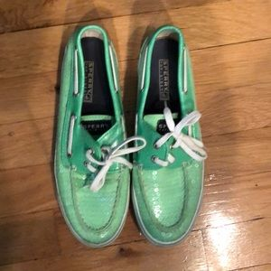 SPERRY Boat Shoes in bright green w. clear sequins